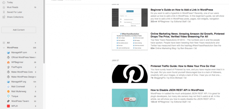 follow blogs with feedly