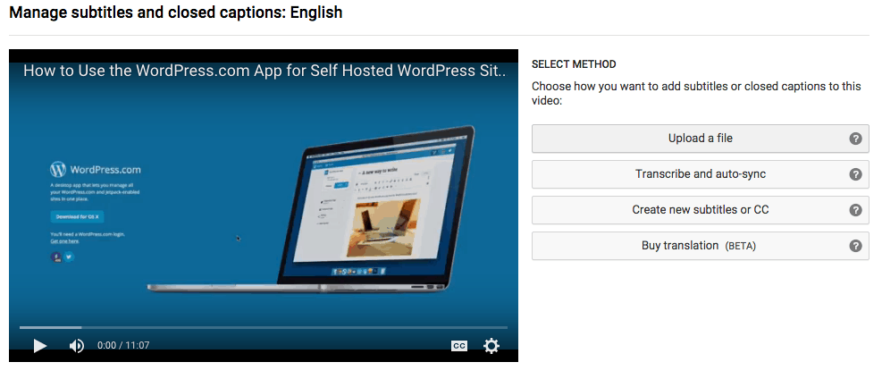 upload transcript closed caption to YouTube