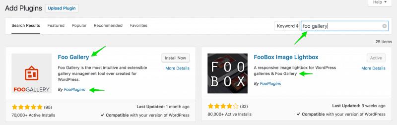 WordPress plugin search results